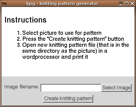 Knitting Pattern Generator From Picture : kpg - knitting pattern generator
